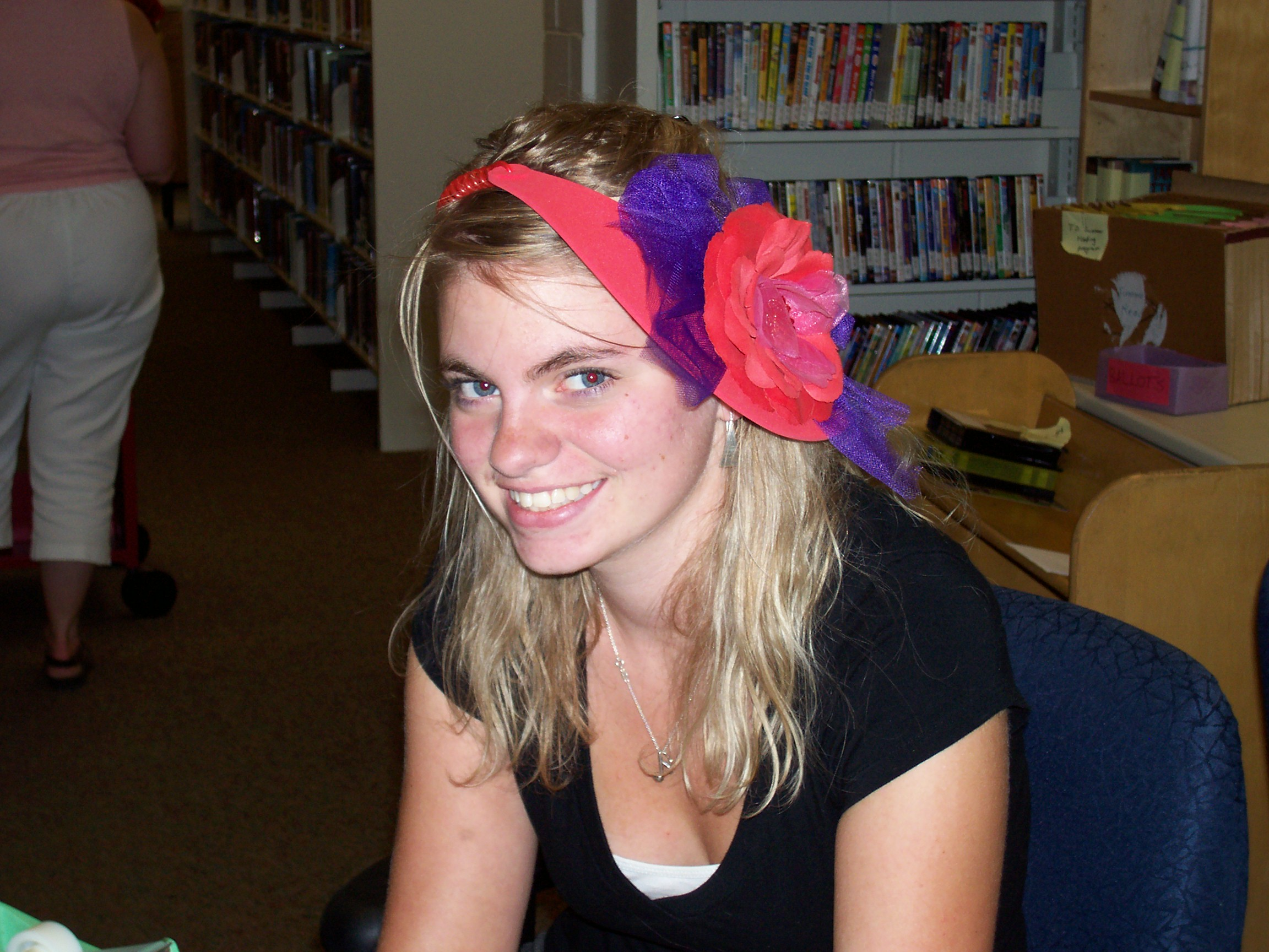Our summer student kelsey in her crazy hat