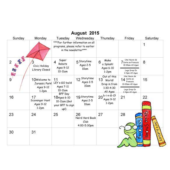 TD Summer Reading Club August 2015 calendar