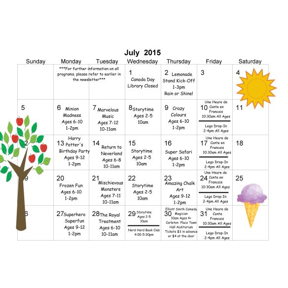 TD Summer Reading Club July calendar